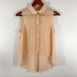 F21 . Gold Tip Collar Sleeveless Hi-Low Blouse . S